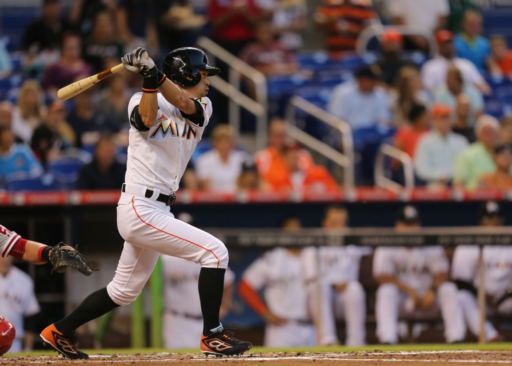 of the game at Marlins Park on May 1, 2015 in Miami, Florida.