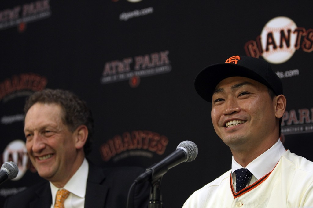 San Francisco Giants Introduce Nori Aoki