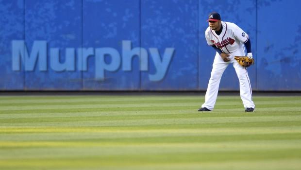 Andruw Jones, center fielder for the Atlanta Braves, plays t