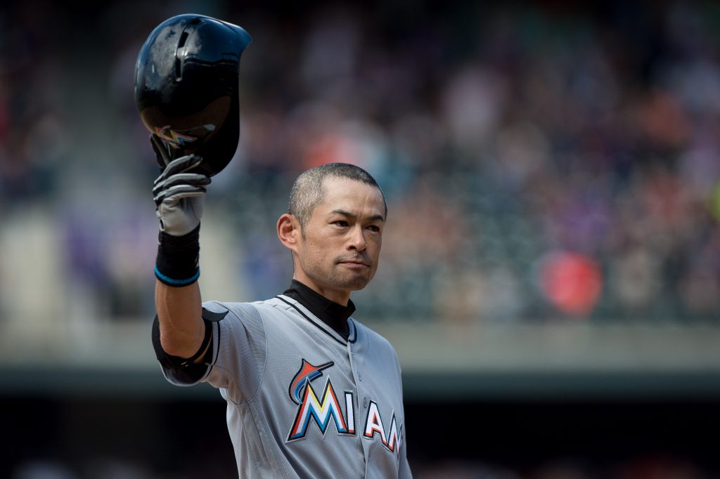 DENVER, CO - AUGUST 7: Ichiro Suzuki #51 of the Miami Marlins tips his hat to the crowd after hitting a seventh inning triple against the Colorado Rockies for the 3,000th hit of his major league career during a game at Coors Field on August 7, 2016 in Denver, Colorado.  (Photo by Dustin Bradford/Getty Images)