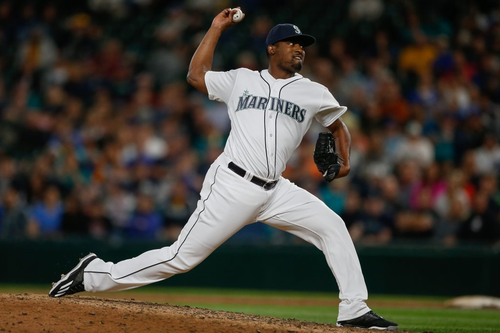 SEATTLE, WA - AUGUST 09:  Relief pitcher Arquimedes Caminero #48 of the Seattle Mariners pitches against the Detroit Tigers in the tenth inning at Safeco Field on August 9, 2016 in Seattle, Washington.  (Photo by Otto Greule Jr/Getty Images)
