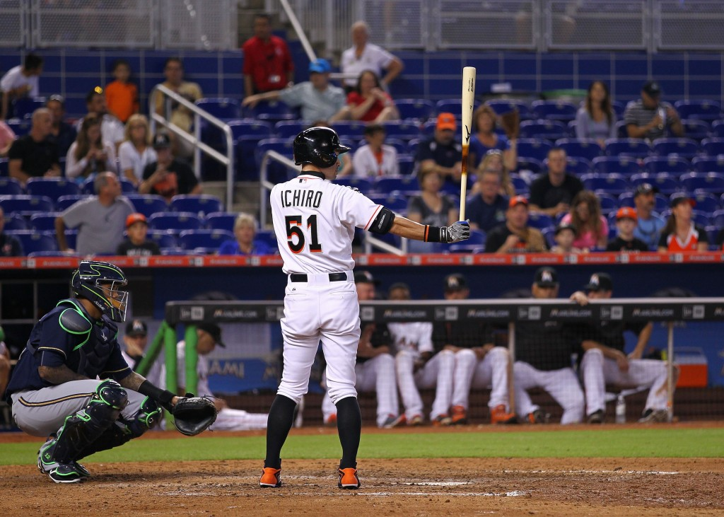 of the game at Marlins Park on September 7, 2015 in Miami, Florida.