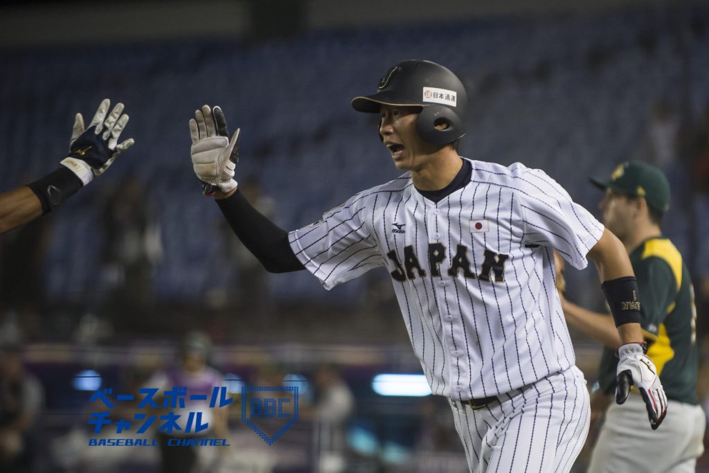 MONTERREY, MEXICO - NOVEMBER 06: Yusuke Masago #1 of Japan celebrate after scoring a run on the fourth inning during the WBSC U-23 Baseball World Cup World Championship Final game between Australia and Japan at Estadio de Beisbol Monterrey on November 6, 2016 in Monterrey, Mexico. (Photo by Azael Rodriguez - Samurai Japan/SAMURAI JAPAN via Getty Images)
