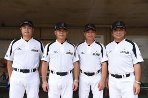 日本代表の新スタッフ。左から杉浦コーチ、安藤監督、棚橋コーチ、中島コーチ